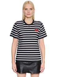 Markus Lupfer Lips Patch Striped Cotton Jersey T Shirt