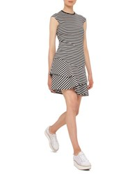 Akris Punto Striped Cap Sleeve Cotton Dress Black Cream Black Cream