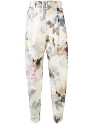 Agnona Floral Print Belted Trousers White