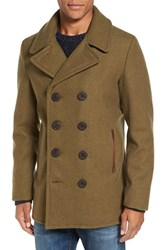 Schott Nyc Men's Slim Fit Wool Blend Peacoat Olive