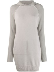 D.Exterior Hooded Sweater Dress Grey