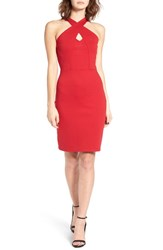 Socialite Women's Cross Front Body Con Dress Red