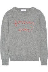Lingua Franca Forever Ever Embroidered Cashmere Sweater Gray