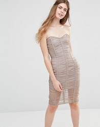 Body Frock Wedding Forget Me Not Ruched Bandeau Dress Taupe Brown
