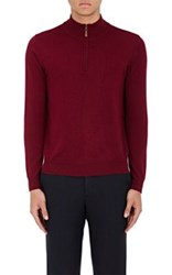 Piattelli Men's Wool Mock Turtleneck Sweater Burgundy