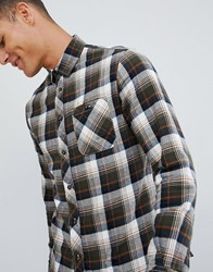 Celio Long Sleeve Check Shirt In Black And Orange Green