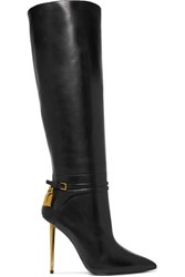 Tom Ford Leather Knee Boots Black