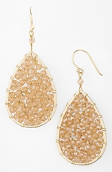 Panacea Smoky Crystal Teardrop Earrings Topaz Crystal