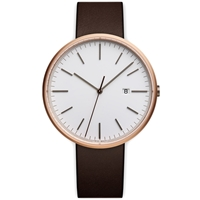 Uniform Wares M40 Calendar Wristwatch Pvd Rose Gold And Brown Leather