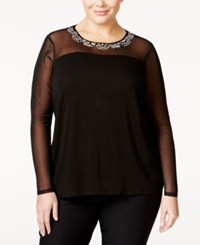 Inc International Concepts Plus Size Embellished Illusion Mesh Top Only At Macy's Deep Black