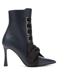 Tabitha Simmons Farren Lace Up Leather Boots Black Navy