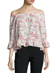 Sanctuary Floral Bardot Top Pink
