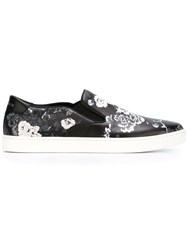 Dolce And Gabbana Floral Print Slip On Sneakers Black