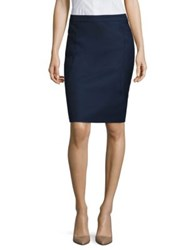 Boss Venesa Wool Blend Pencil Skirt Navy