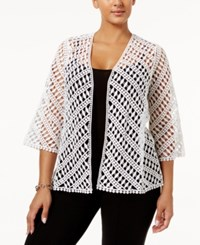 Alfani Plus Size Cotton Crochet Cardigan Only At Macy's Bright White