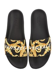 332123b868d Versace St.Heritage Printed Leather Slide Sandal Black Gold