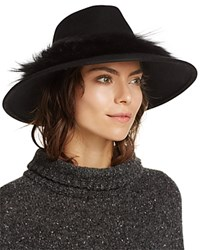 Aqua Fedora With Asiatic Raccoon Fur Trim Black
