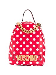 Moschino Polka Dots Print Backpack Red