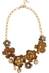 J.Crew Cast Wildflower Gold Tone Crystal Necklace