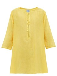 Thierry Colson Samia Floral Embroidered Cotton Blend Kaftan Yellow