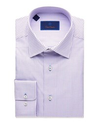 David Donahue Regular Fit Textured Plaid Dress Shirt