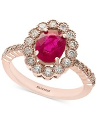 Effy Amore By Certified Ruby 1 3 8 Ct. T.W. And Diamond 5 8 Ct. T.W. Statement Ring In 14K Rose Gold