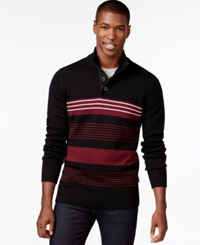 Sean John Striped Button Neck Sweater Pm Black