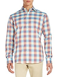 Bugatchi Classic Fit Checkered Sportshirt Blue Red