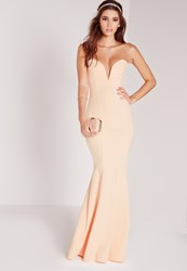 Missguided Scuba Bandeau Fishtail Maxi Dress Nude Beige