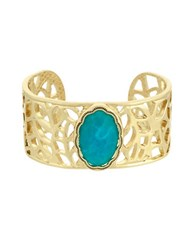 Laundry By Shelli Segal Pacific Highway Goldtone Stone Open Metal Cuff Bracelet Turquoise