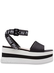 Miu Miu Nylon Platform Sandals Black