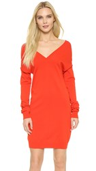 Nina Ricci V Neck Sweater Dress Satin Red