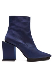 Toga Point Toe Cubed Block Heel Ankle Boots Navy