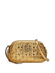 Gucci Small Gg Marmont Studded Metallic Leather Chain Shoulder Bag Gold