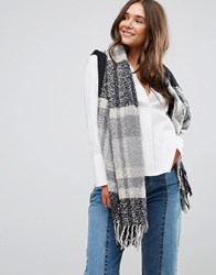 Only Knitted Scarf With Tassel Detail Grey