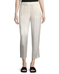 Brunello Cucinelli Shiny Straight Leg Pull On Pants With Track Stripes Cream
