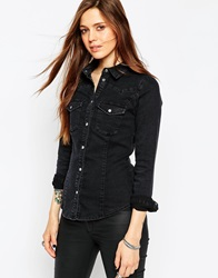 Asos Denim Fitted Western Shirt In Washed Black Washedblack