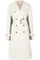 Alexander Mcqueen Belted Cotton Gabardine And Houndstooth Wool Trench Coat Ivory