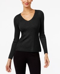 Inc International Concepts Ribbed V Neck Sweater Only At Macy's Deep Black