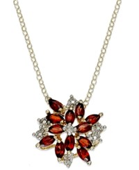 Victoria Townsend 18K Gold Over Sterling Silver Necklace Garnet 2 3 8 Ct. T.W. And Diamond Accent Cluster Pendant