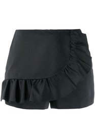 Red Valentino Ruffle Trimming Shorts Black