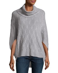 Neiman Marcus Cashmere Blend Cable Poncho Heather Gr