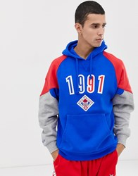 Mitchell And Ness 1991 All Star Panelled Hoodie In Blue Red