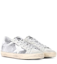 Golden Goose Superstar Metallic Leather And Suede Sneakers Silver