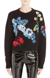 Anthony Vaccarello Women's Floral Embroidered Crop Wool And Cashmere Sweater