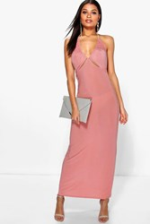 Boohoo Ruched Halterneck Cut Out Maxi Dress Salmon