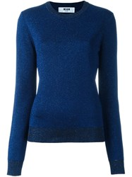 Msgm Crew Neck Jumper Blue