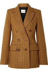 Khaite Darla Checked Wool Blazer Yellow