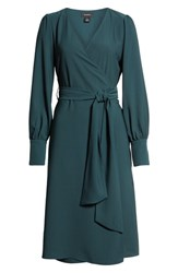 Halogen Wrap Dress Green Ponderosa