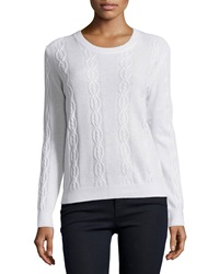 Minnie Rose Cashmere Cable Knit Crewneck Sweater White